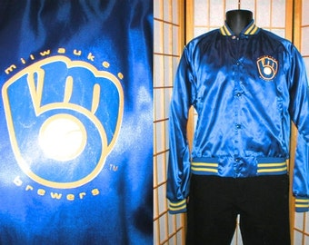 VTG 80s Milwaukee Brewers satin bomber jacket by Chalk Line mens size large