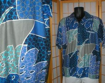 50s /  60s blue / grey abstract tiki print Hawaiian shirt mens size large
