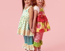 GIRLS CLOTHES PATTERN / Boutique Style Dress - Top - Pants / Sizes 2 to 5 Or 6 to 8