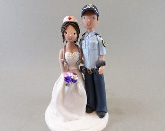 Police Officer & Nurse Customized Wedding Cake Topper