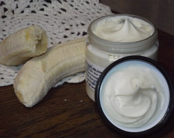 milk and honey lotion | Banana Coconut Goat Milk Lotion | creamy Mango Butter | tropical Caribbean scent | rich body lotion hand foot cream
