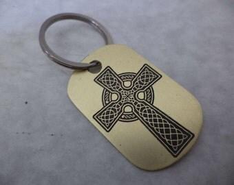 Celtic Cross Brass Keychain