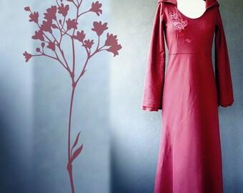 Hooded long dress, organic cotton maxi dress, dress with hood, formal dress, organic cotton clothes