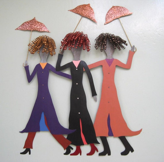 Metal Wall Art Umbrella Sculpture Three Ladies in The Rain Recycled Metal Wall Decor Terracotta Black Purple  27 x 23