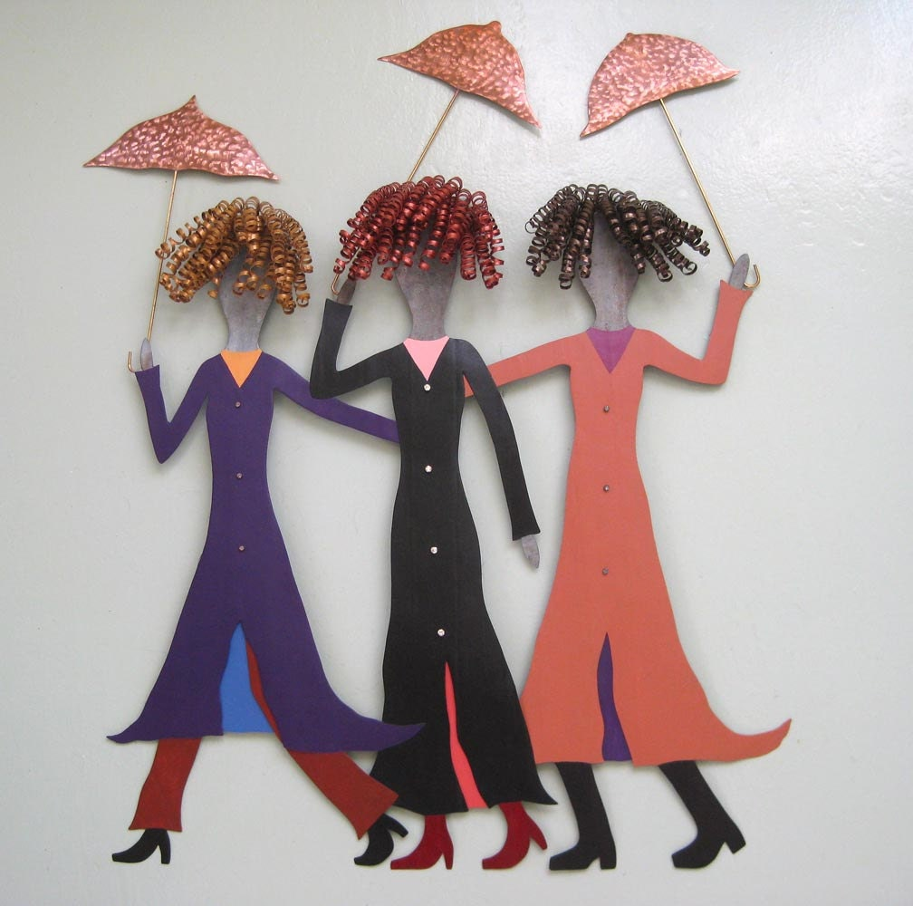 Metal Umbrella Wall Decor : Metal wall art umbrella sculpture three ladies in the rain