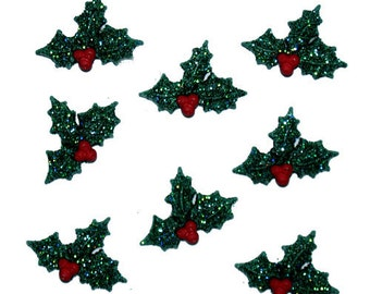 Glitter Holly Jesse James Buttons Set of 7 Buttons, Christmas Buttons