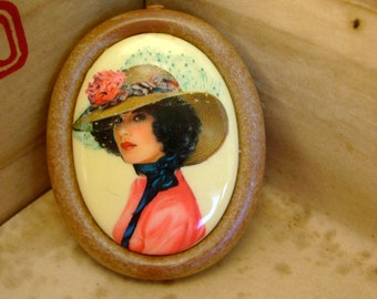 Vintage 1960s Resin Oval Lovely Face Lady with Hat Brooch Pin Made in West Germany