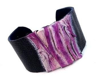Casual purple leather bracelet  Cuff Leather jewelry Wide fashion wristband  Statement
