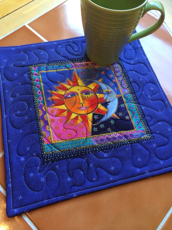 Celestial dreams bright and fun mug rug or candle by for Celestial fleece fabric