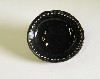 Black Jewelry Dish with Dot Pattern