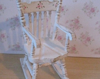 DollshouseTatty Chic Rocking Chair,  distressed white with rose bouquets,  Twelfth scale dollhouse miniature