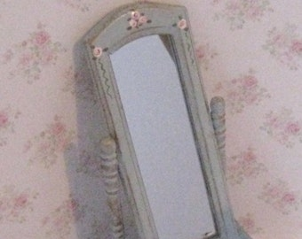 Dollhouse Cheval mirror, tatty chic,duck egg blue, rose trims, Twelfth scale, dollhouse miniature