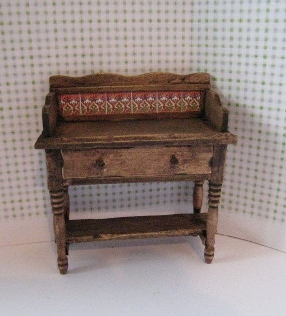 Dollhouse washstand, Country washstand, Vanity, dark oak washstand,Twelfth scale Washstand, a dollhouse miniature