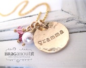 Personalized Grandma Jewelry - Hand Stamped Necklace - 14K Gold Filled Personalized Jewelry - Tiny Brag with Pearl & Birthstones