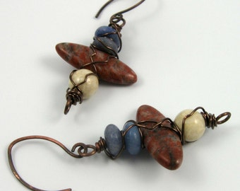 Rustic red/white/blue earrings, mixed gemstone beads, brass wire wrapped dangles on copper wires