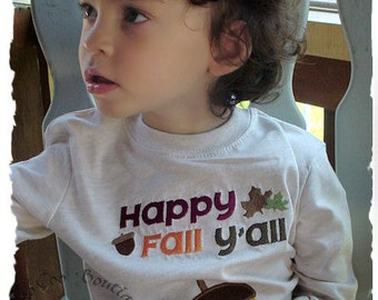 Happy Fall Applique Tee Shirt