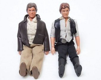 Set of Two Harrison Ford Dolls, Indiana Jones and Han Solo, Vintage Star Wars