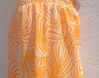 Size 4 to 5 Orange Shirred Sundress Elastic Top