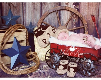 Crochet cowboy outfit baby newborn, hat, boots and chaps photography props,3 PC BOOT SCOOTEN Boots  Cowboy Hat and Chaps  (Ready to Ship)