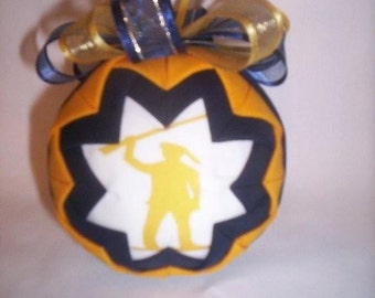 HANDMADE QUILTED Ornament /blueand gold fabric /great gift idea/2010 West Virginia Handmade Quilted Ornaments (Ready to Ship)