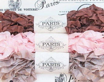 Shabby Crinkled Seam Binding Ribbon, Brown,Pink, Taupe,Rayon Ribbon, French Vintage,Scrapbooking,Doll Making, Crazy Quilting, French Truffle