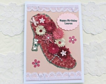 Paper Quilling- Personalized Card -Paper Quilled -Pink -Cinderella Slipper- Birthday -Congratulations- Age Birthday - Handmade -Australia