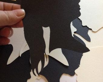 Custom Silhouette Portrait - Unframed Hand Cut Silhouette - handmade - Cut Art - Trending