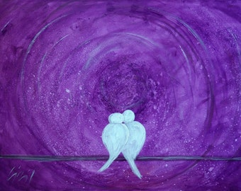 Original Painting Abstract Modern Art PURPLE MOON Love Birds Romance Wedding Decoration
