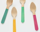 Classic Chevron - Zig Zag - 20 Wooden Ice Cream Spoons - Great Alternative To Plastic Utensils