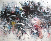 "Sea Art, black painting, Abstract ink Painting,18""x24"" Original Acrylic ink Painting purple blue salmon art landscape modern art sjkim"