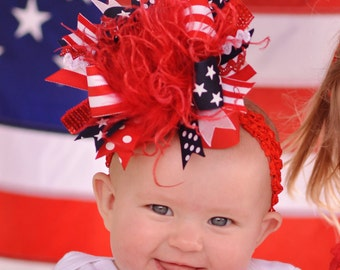 Lil Firecracker Over The Top  Bow Red White and Navy Blue on Matching Headband Free Shipping On All Addional Items