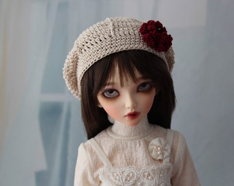 Tan Crochet Hat for MSD BJD, Minifee, MNF -New Style-