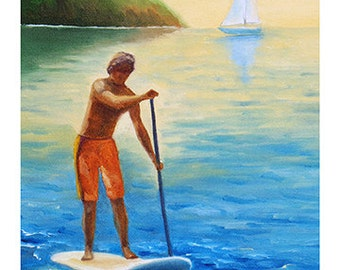 5x7 Greeting Card by Daina Scarola, Item #GC5X7-18 (SUP, paddle board, stand up paddle)