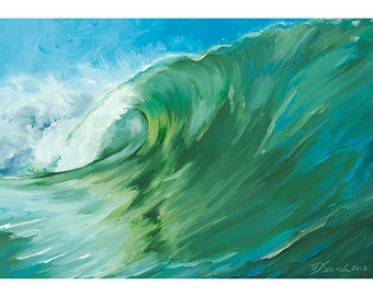 5x7 Greeting Card by Daina Scarola, Item #GC5X7-04 (surf art, wave, ocean, beach)