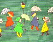 Vintage Cotton Fabric Umbrellas Raining Rain Scene Perfect for Seattle or Portland 3.5 yards