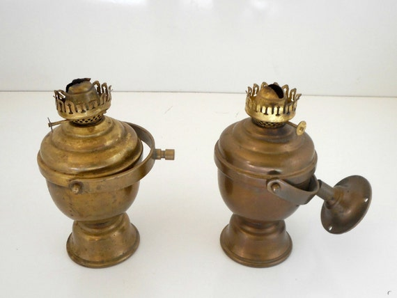 Ships Lanterns Pair Antique Brass Oil Lamps Perko Maritime