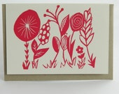 Rustic garden linocut letterpress greeting card