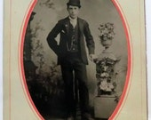 Tintype Photo Man Bowler Hat, Watch Chain, Cigarette, Hand on Hip 1/4 Plate Tintype
