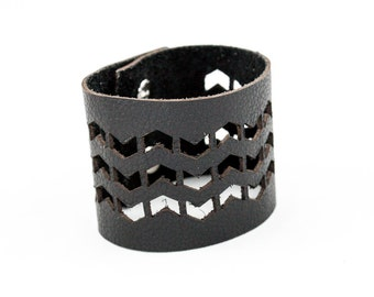 Leather Cuff Bracelet - Chevron Pattern Cutouts (Black)