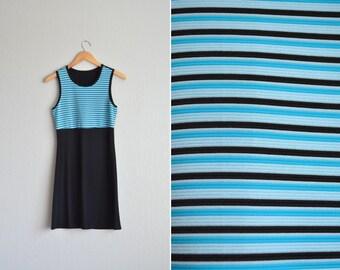 vintage '90s STRIPED SPORTY sleeveless COLORBLOCK mini dress. size s.