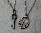 Key to My Heart Steampunk couples necklace set - gunmetal black large heart lock and medieval key charms - two necklaces - free shipping USA