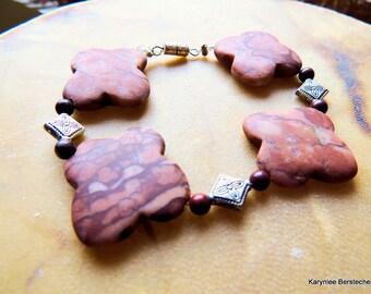 Cross Bracelet, Jasper Jewelry, Native Style Jewelry, Chunky Bracelet, Statement Jewelry, Southwest Style, Handcrafted Jewelry