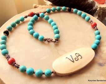 Cherokee Language, Turquoise Necklace, Inspirational Jewelry, Peace Jewelry, Handcrafted Jewelry, Gemstone Jewelry, Native Style Jewelry