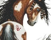 Horse cross stitch kit, AmyLyn Bihrle, Majestic Horse,  Spirit War Paint Pinto Pony Feathers, Counted Cross Stitch, Mustang Cross Stitch
