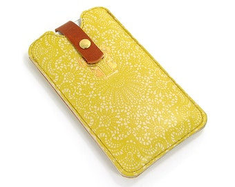 Leather iPhone 6 Case/ iPhone 5s Case/ iPhone 5 Case/ Smartphone case - Yellow Lace