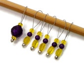 Knitting Stitch Markers Set, Snag Free, DIY Knitting Tools, Gift for Knitter, Purple, Yellow, TJBdesigns