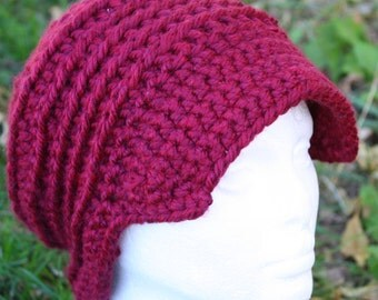 Chunky Crochet Hat with Brim in Red Wine Women's  Newsboy Cap Deep Red Purple Faux Cable
