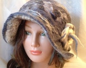 ladies  girls  felted grey gray  white silver  hat  cloche gray white hat merino mohair nunofelted nunofeltfelted hat