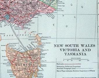 1919 Vintage Map of New South Wales, Victoria, and Tasmania, Australia