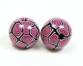 Macrame Beads - Black, Pinks & White Spiral - Handmade from Polymer Clay